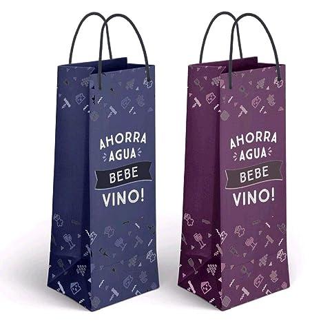 Dillards Pack 2 Bolsa Papel Botella FRASES-11,5X10X33 CM ...