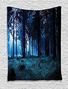 "Tcrying Night Scene of Autumn Forest in Thuringia Germany Foggy Pine Trees Wall Hanging Tapestry Living Room Bedroom Dorm Decor 40"" W By 60"" L"