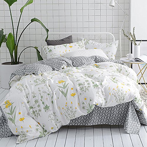 CLOTHKNOW Girls Duvet Cover Twin Size Yellow Flower Botanical Floral Duvet Cover Sets Kids Beding 100 Cotton 3 Pieces - 1 Duvet Cover Zipper 2 Pillowcases NO Comforter