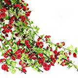 Htmeing Rose Garland Artificial Rose Vine with Green Ivy Leaves 67 Inch Flower Garland for Home Hanging Wedding Decor,Pack of 2 (Dark Red)