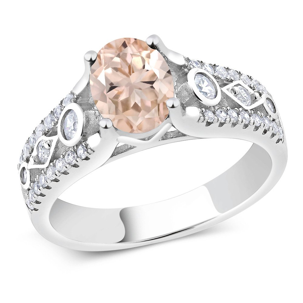 1.56 Ct Peach Morganite 925 Sterling Engagement Silver Ring