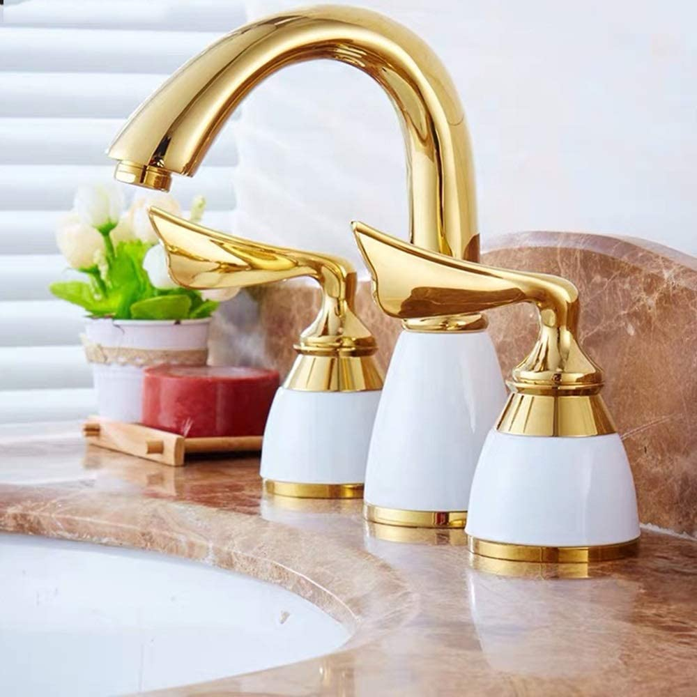 HYH European and American Style Retro Classic Antique Gold Ceramic Three-Hole Double The Faucet Vanities Entire Copper Faucet Hot and Cold A Beautiful Life