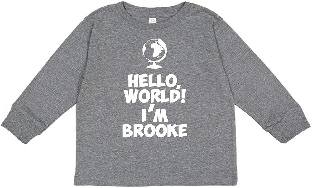 World Mashed Clothing Hello Personalized Name Toddler//Kids Long Sleeve T-Shirt Im Brooke