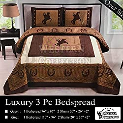 Western Collection New Western Stars and Horses Cowboy Luxury Home Quilt Bedspread OVERSIZE Comforter (Queen Brown Horse)