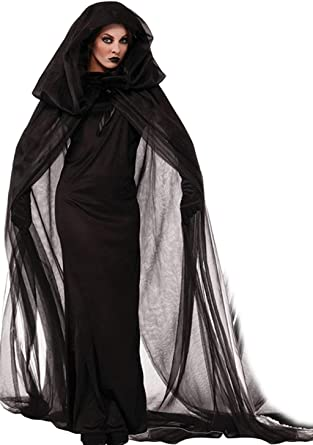 Black Spiderweb Witch Halloween Cape Cloak and Long Gloves Halloween Party