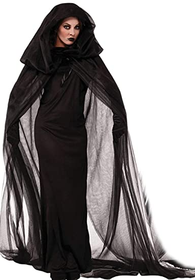 NonEcho Women Black Witch Halloween Costume for Adults 2Pc Black