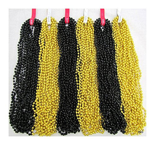 72 Mardi Gras Beads Gold and Black Disco Saints Steelers Party 6 Dozen Necklaces by Rocky's Rocket]()