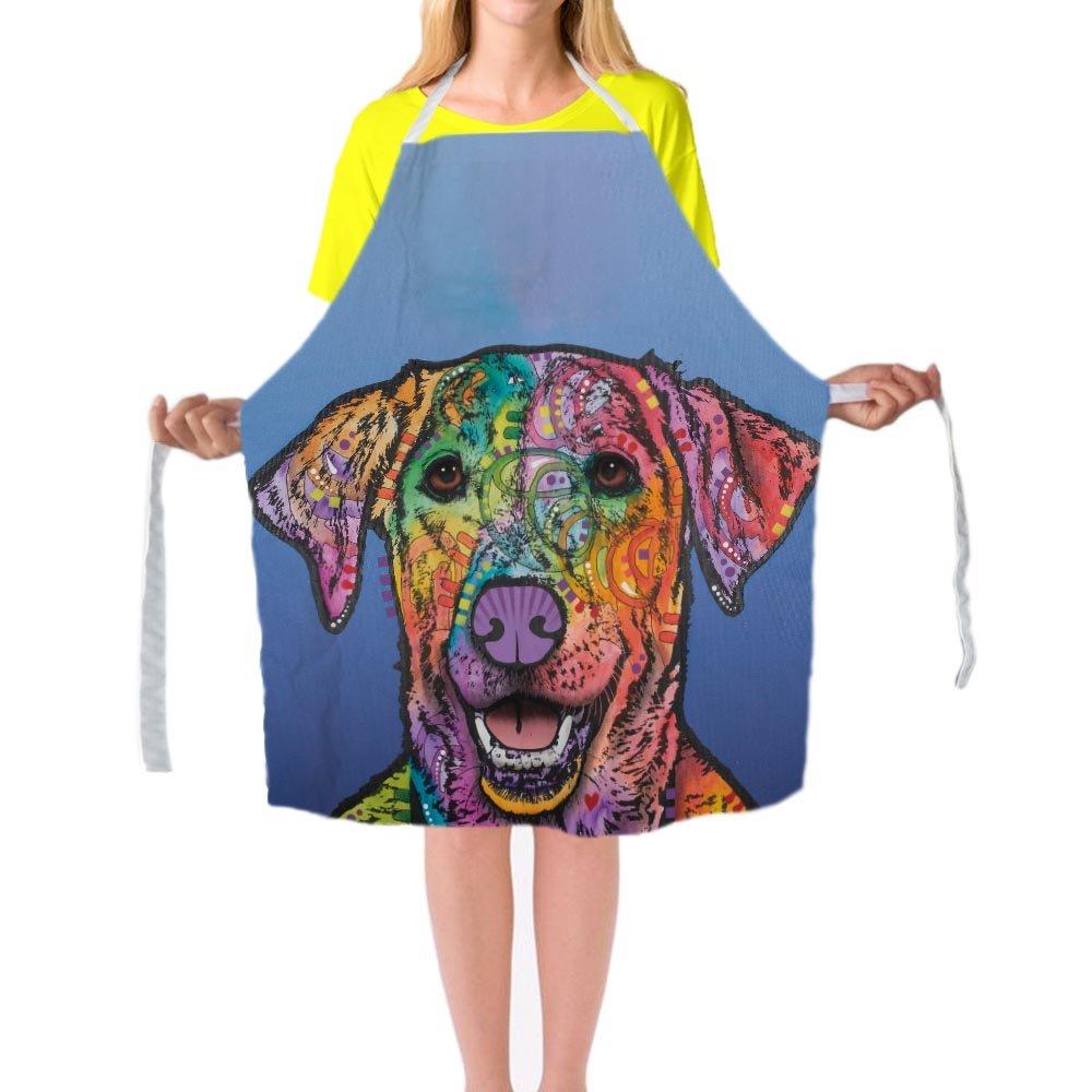 カラフルなアートペット犬グレートデーンエプロンかわいいデザインLady 'sキッチン料理29 x 34inchエプロンドレスカスタムギフトよだれかけエプロンfor Man and Woman 29 x 34inch by cafetime GDWQS180007  マルチ10 B071QZWV9X