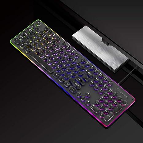 Teclado Gaming mecanico Retro Punk Gaming Mechanical Esports Keyboard, Teclado de Juegos por Cable con