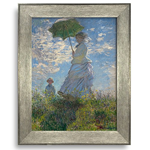 Framed Art Woman with a Parasol Madame Monet and Her Son by Claude Monet Famous Painting Wall Decor Silver Frame
