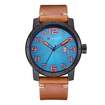 curren 8254 black brown blue mens sports waterproof leather strap date good quality wrist