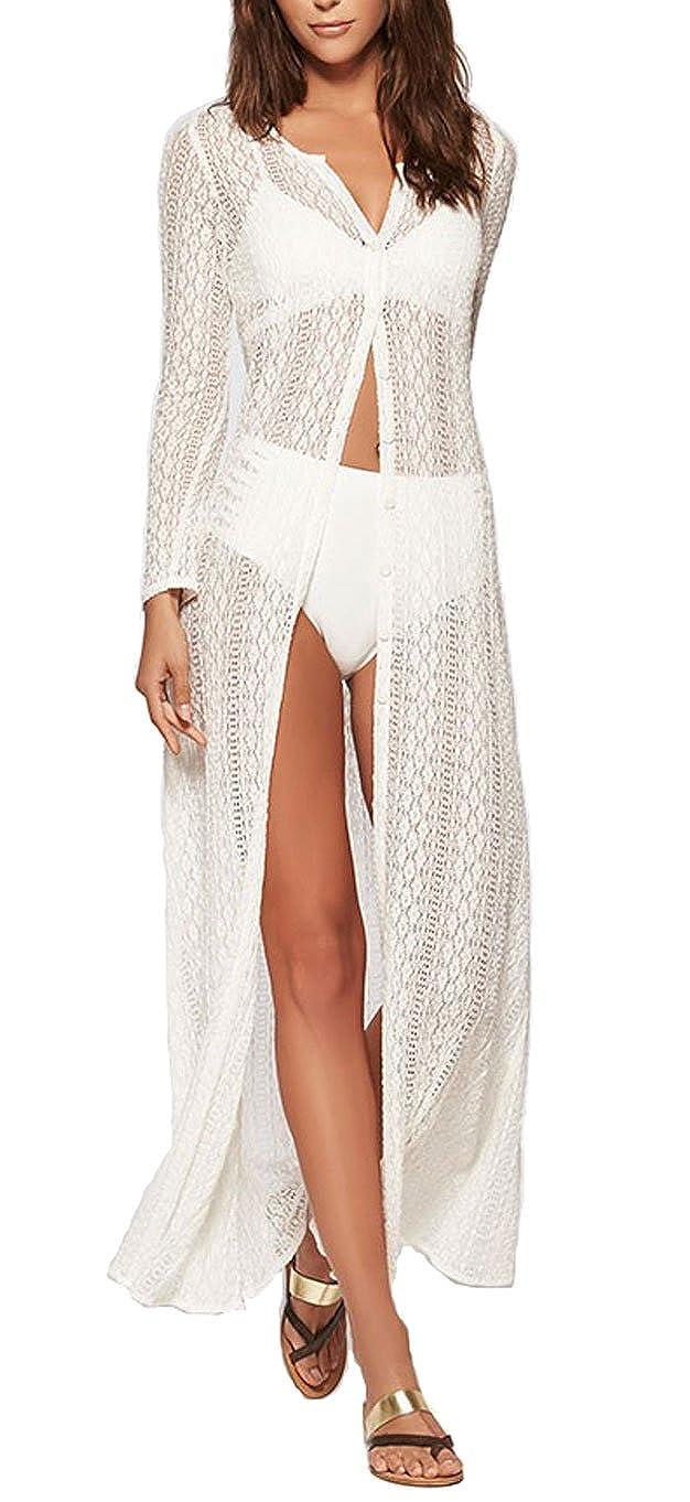 118c9d3f18597 KingsCat Crochet Woven Long Cardigan Tops w  Swimsuit Cover up ...