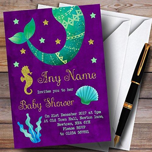 Gold & Purple Mermaid Invitations Baby Shower Invitations