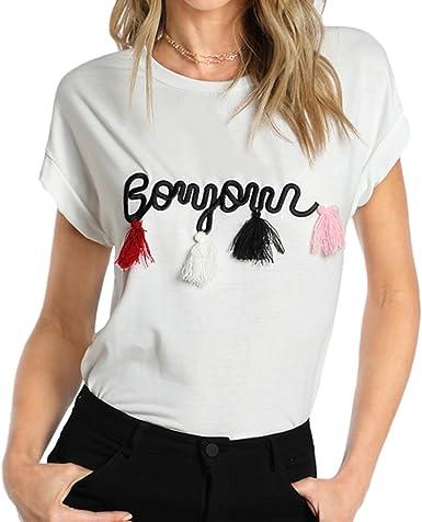 Verano Camiseta para Mujer, Moda Bordado Redondo Regular Fit Blusa Moda Borla Decorada Casual Verano Camiseta Tops Streetwear: Amazon.es: Ropa y accesorios