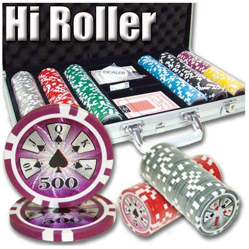 300 Ct Hi Roller 14 Gram Clay Poker Chip Set w/ Aluminum Case