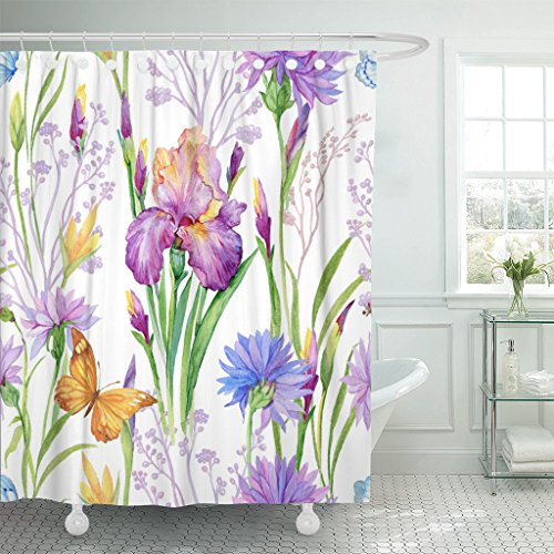 Emvency Shower Curtain Blue Animals for Floral Iris Flowers Bluebells Cornflowers Butterflies Watercolor Green Beautiful Botany Waterproof Polyester Fabric 72 x 72 inches Set with Hooks