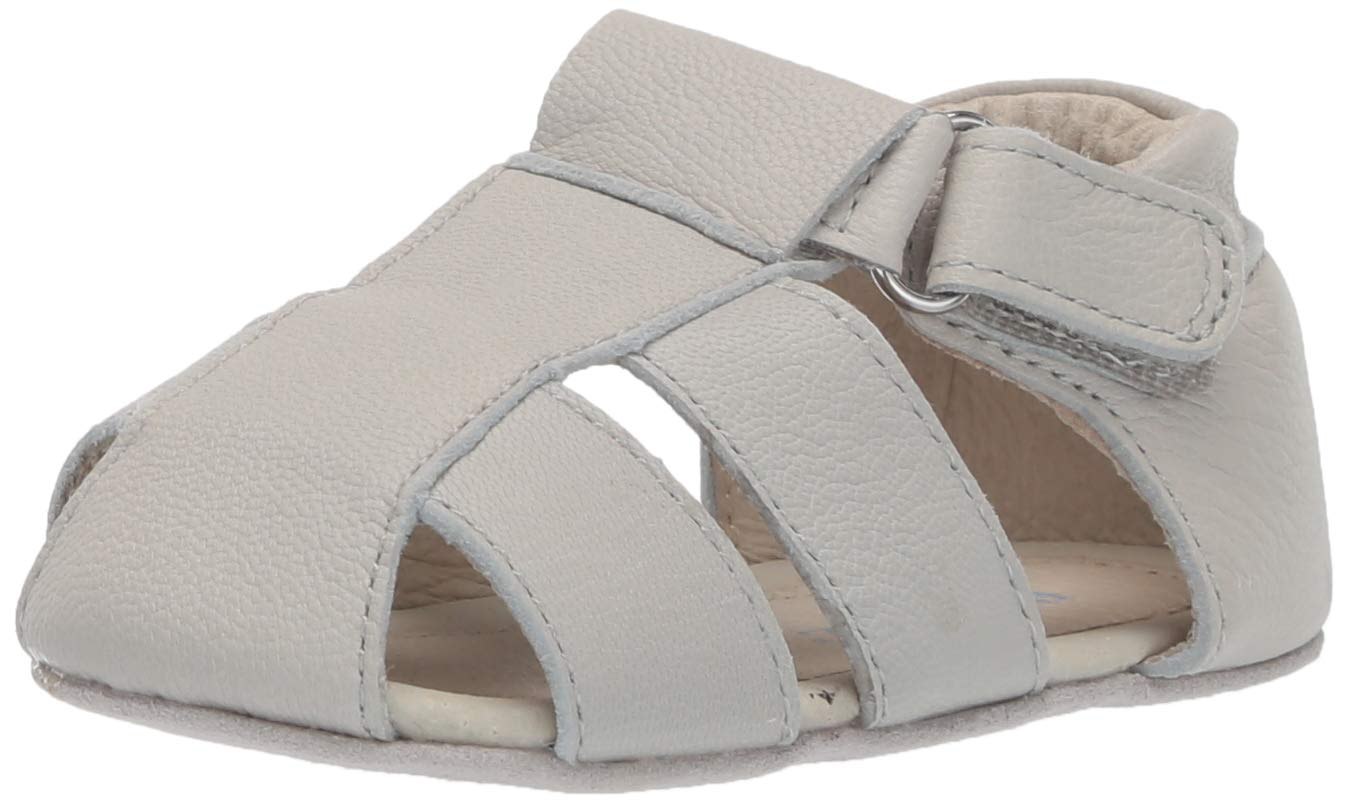 Robeez Boys' Sandal-First Kicks Crib Shoe, Matthew Light Grey, 12-18 Months by Robeez