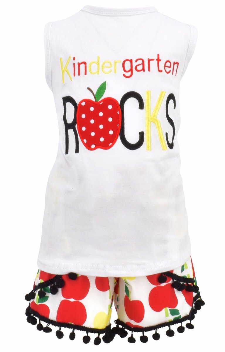 Unique Baby Girls Kindergarten Rocks Back to School Outfit (7/XXL) by Unique Baby (Image #1)