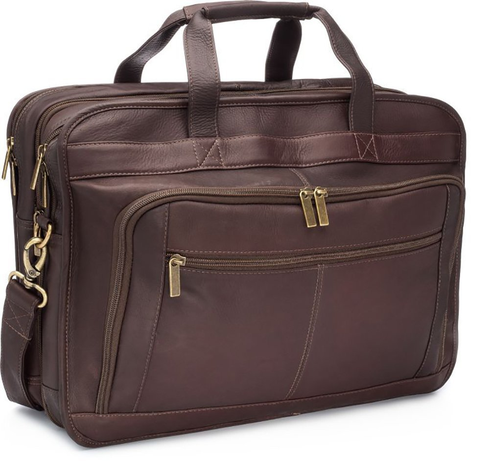 Le Donne Leather TR-1012-Cafe Oversized Laptop Brief Case