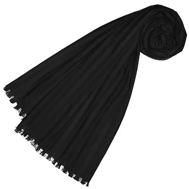 25a0861afb1ef4 Lorenzo Cana Luxus Damen Schal aus feinster Baumwolle mit Seide aufwändig  jacquard gewebte dezente Webstreifen Naturfaser