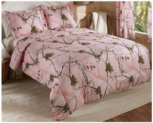 Realtree AP Mini Comforter Set, Queen, Pink, Camo - One mini set has (1) 86-inch by 90-inch Queen comforter and (2) 20-inch by 26-inch shams 60% cotton/40% polyester Machine Wash Cold and tumble dry low or line dry - comforter-sets, bedroom-sheets-comforters, bedroom - 61Bm8cMKpbL -