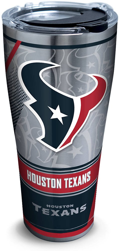 Tervis 1266721 NFL Houston Texans Edge Stainless Steel Tumbler with Clear and Black Hammer Lid 30oz, Silver