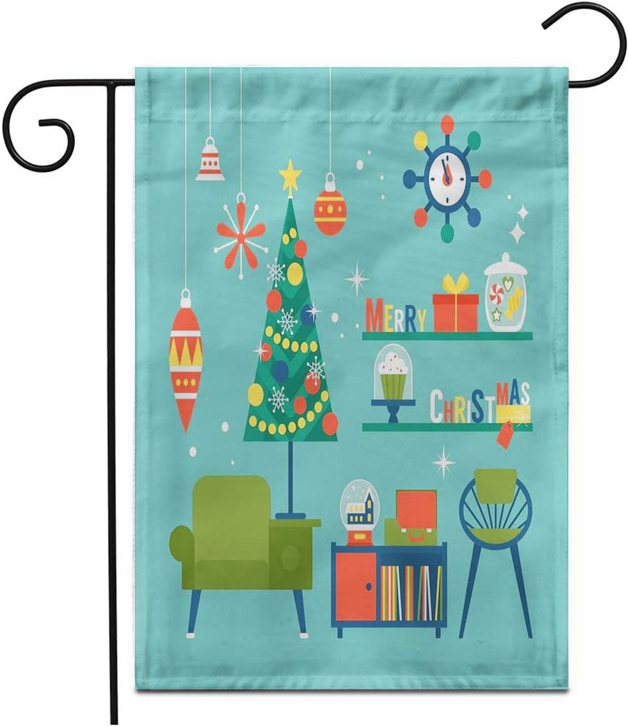 """Adowyee 28""""x 40"""" Garden Flag Flat Modern Creative Christmas Mid Century Furniture and Globe Outdoor Double Sided Decorative House Yard Flags"""