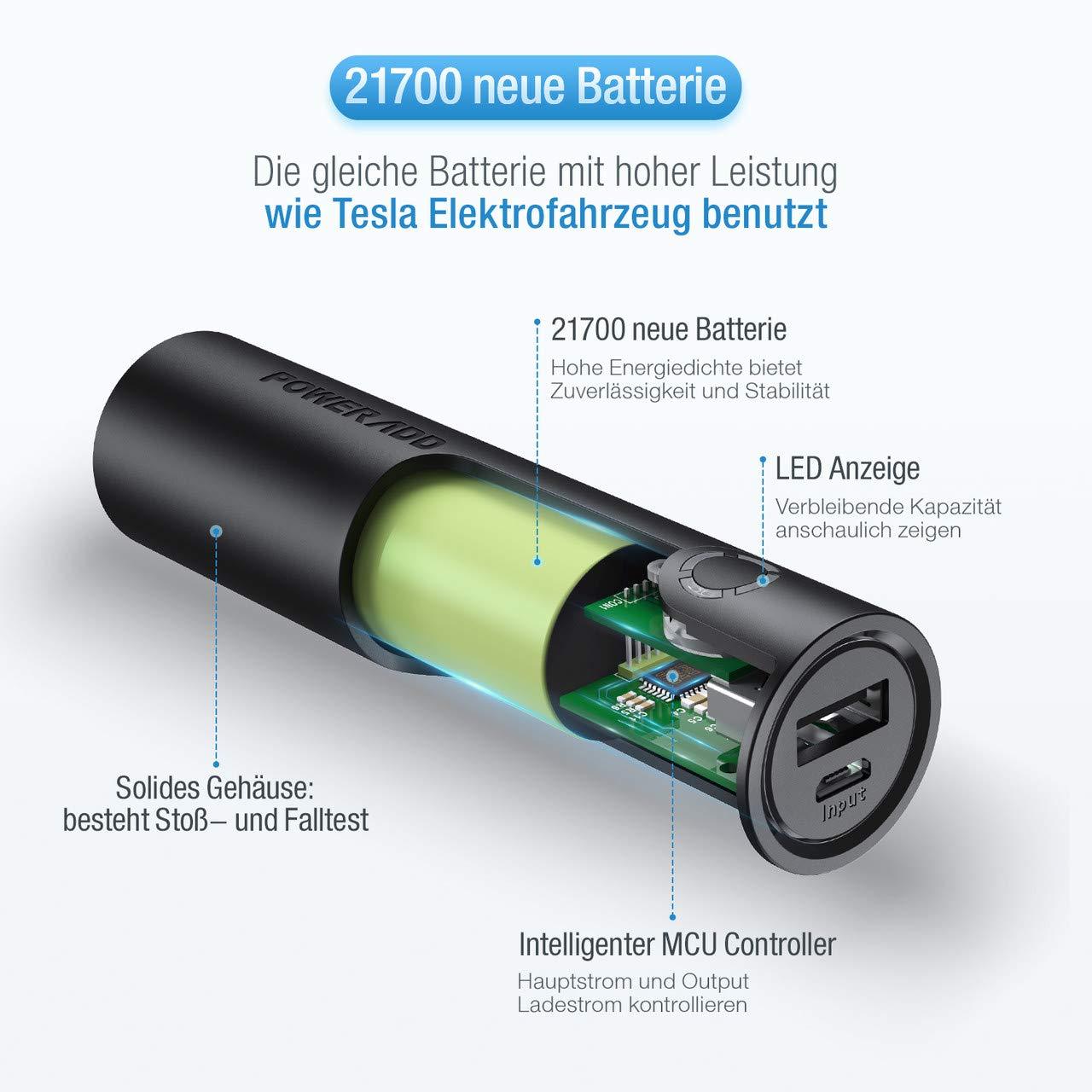POWERADD EnergyCell 5000mAh Powerbank, Externer Akku mit 2.4A Output, schnelles Ladegerät für iPhone Huawei Samsung Xiaomi und andere Smartphones, Schwarz