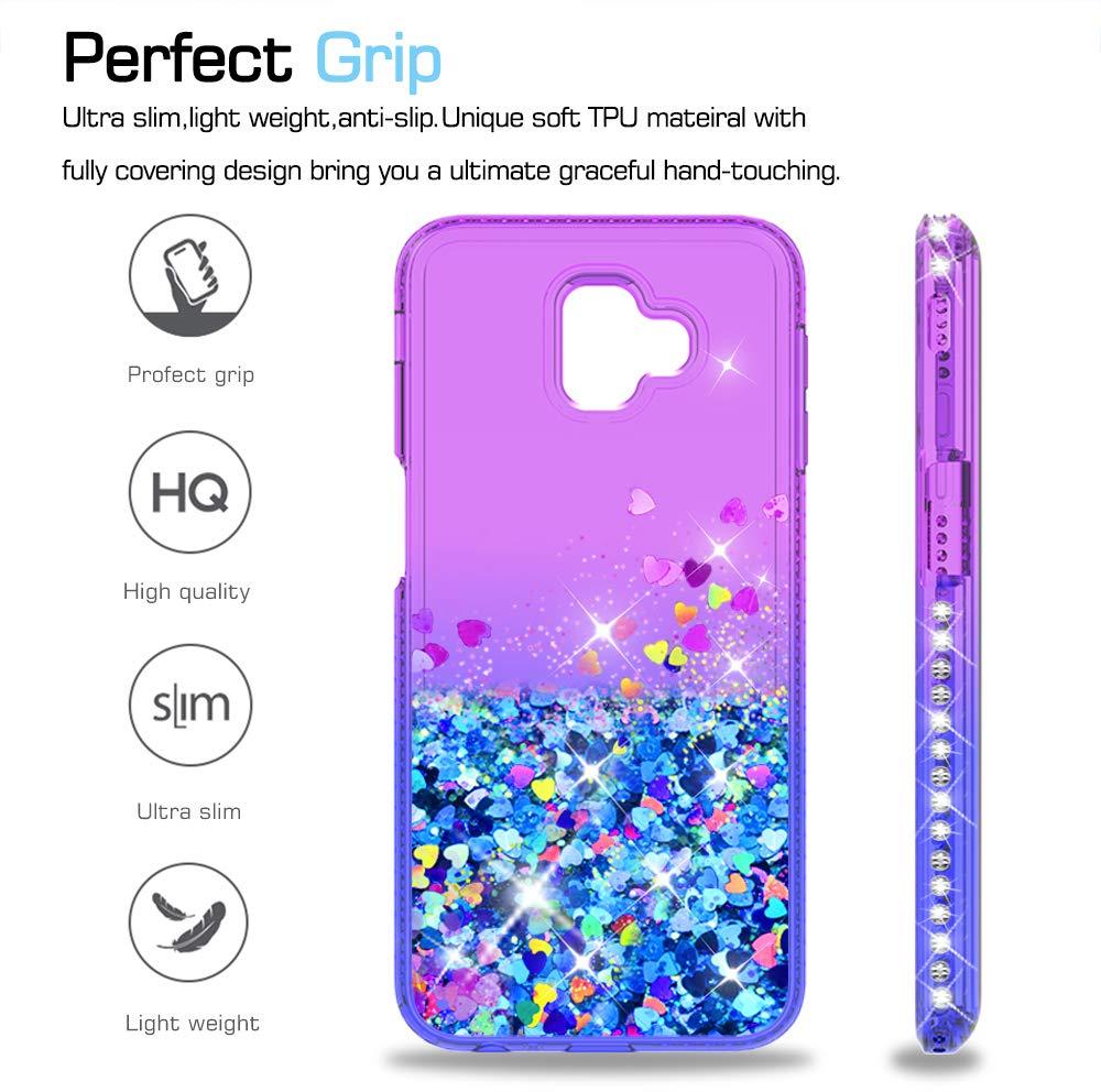 LeYi Compatible Funda con Samsung Galaxy J6 Plus 2018 / J6+ Silicona Purpurina Carcasa con [2-Unidades Cristal Vidrio Templado],Transparente Cristal Bumper ...