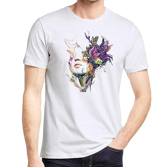 Camisetas Blancas con Estampado Abstracto Hombre LHWY,Camisetas De Cuello Redondo Casuales Blusa Suelto Manga