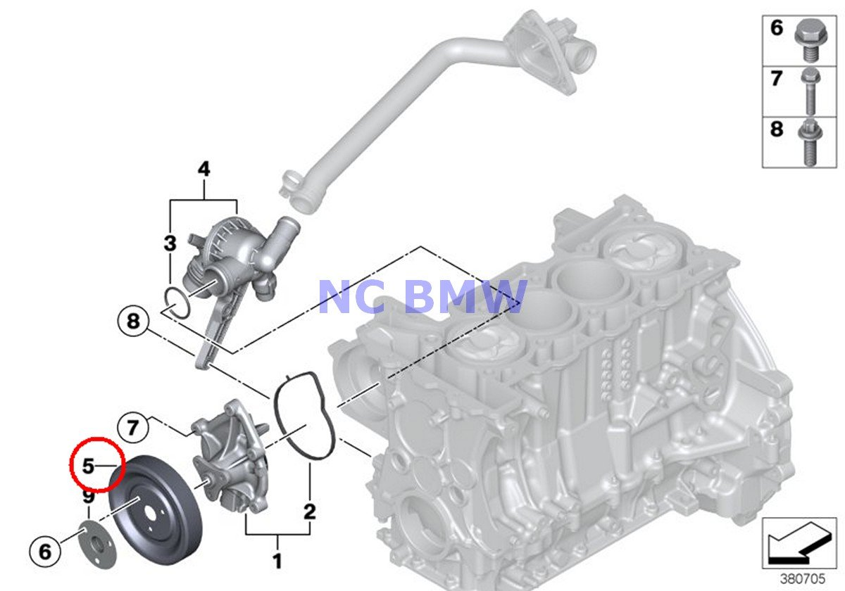 BMW Mini Genuine Coolant Water Pump Pulley Coop.S JCW Cooper S Coop.S JCW Cooper S Coop.SX JCW Cooper S Cooper SX C