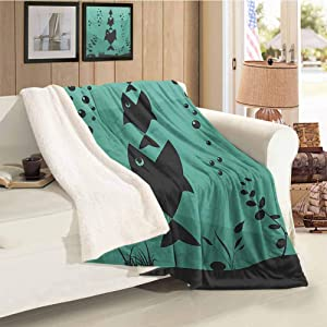 Fishing Flannel Double Blanket Big Fish Eats Little Small in Bubbles Underwater Ocean Symbolic Icons Food Theme Teal Grey Gift Throw Blanket for Women Men Throw Size