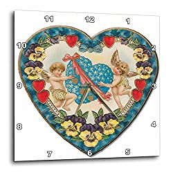 3dRose DPP_169995_2 Heart Shaped Victorian Valentine with a Blue Heart and Cupids Wall Clock, 13 by 13-Inch