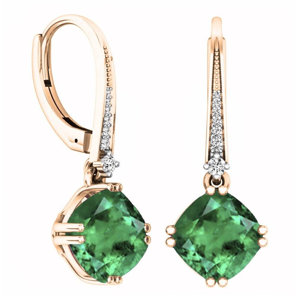 14K Rose Gold 8 MM Each Cushion Lab Created Emerald & Round White Diamond Drop Earrings
