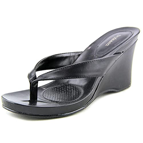 1b163df2b445 Image Unavailable. Image not available for. Color  Style   Co. Women s Chicklet  Thong Wedge Sandals ...