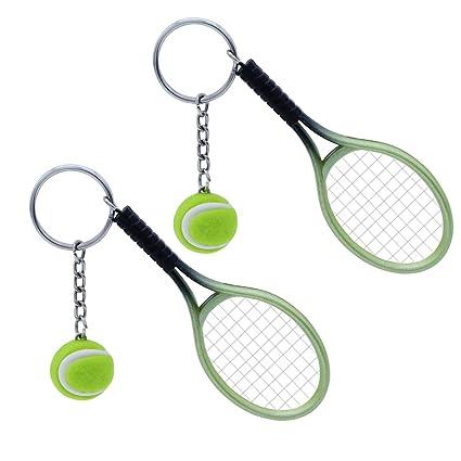 NUOBESTY Llavero de Tenis con Forma de Raqueta de Tenis ...