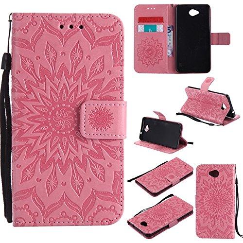 YHUISEN Diseño de la impresión de la flor del sol Caja de cuero del tirón de la PU de la PU del tirón con la ranura para tarjeta / soporte para Nokia Lumia 650 N650 ( Color : Purple ) Pink
