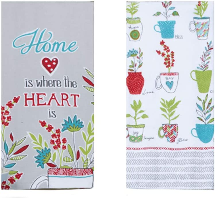 Just Jazzle Kay Dee Designs House Rules Herbal Blessings Home is Where The Heart is Kitchen Terry Dish Towel Bundle, Set of 2