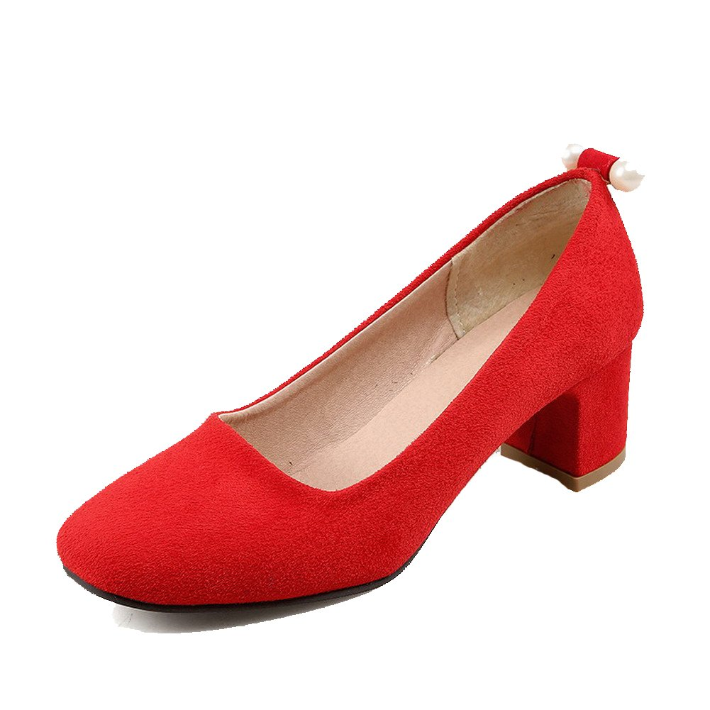 WeenFashion Women's Solid Frosted Kitten-Heels Pull-on Square Closed Toe Pumps-Shoes, Red, 36