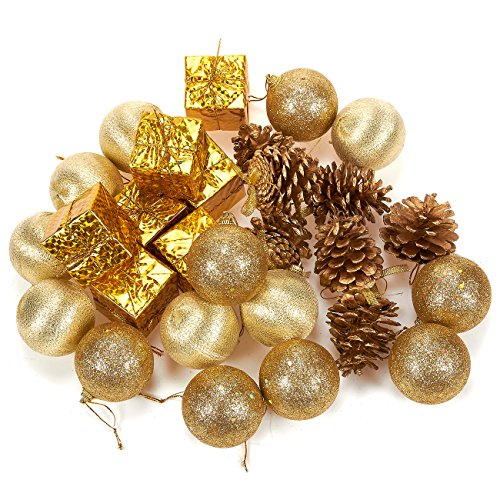 Victorian Christmas Tree - Juvale 28-Pack Christmas Tree Decorations - Glittery Xmas Ornaments in 4 Assorted Ball, Gift Box, Pinecone Designs - Perfect Festive DecorEmbellishments, Gold