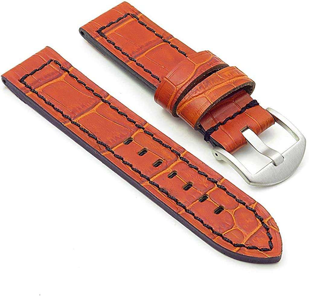 DASSARI Flash Thick Crocodile Embossed Rally Leather Watch Band Strap with Contrast Stitching - Choose Your Color - 20mm 22mm 24mm 26mm