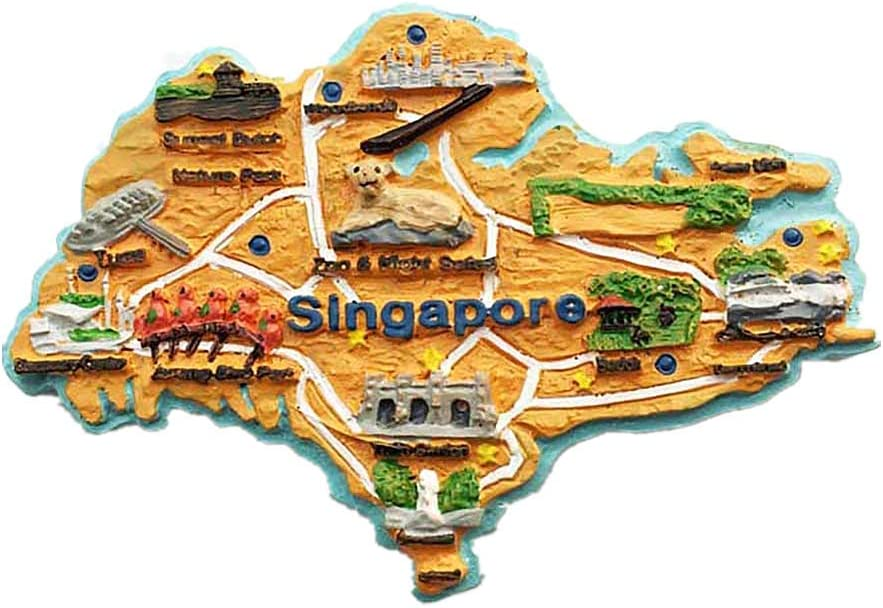 3D Glow-in-The-Dark Singapore Map Fridge Magnet Tourist Souvenir Gift Collecton Home& Kitchen Decoration Magnetic Sticker Singapore Refrigerator Magnet 47