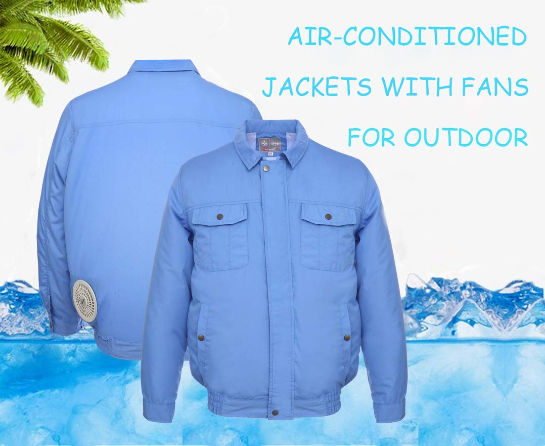 ITIEBO Cooling Clothes & Workwear with Fan & battery pack for man (M, Blue workwear) by ITIEBO (Image #2)