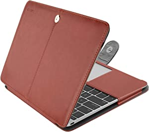 MOSISO PU Leather Case Compatible with MacBook 12 inch with Retina Display A1534 (Version 2017/2016/2015), Book Folio Protective Stand Cover Sleeve, Brown