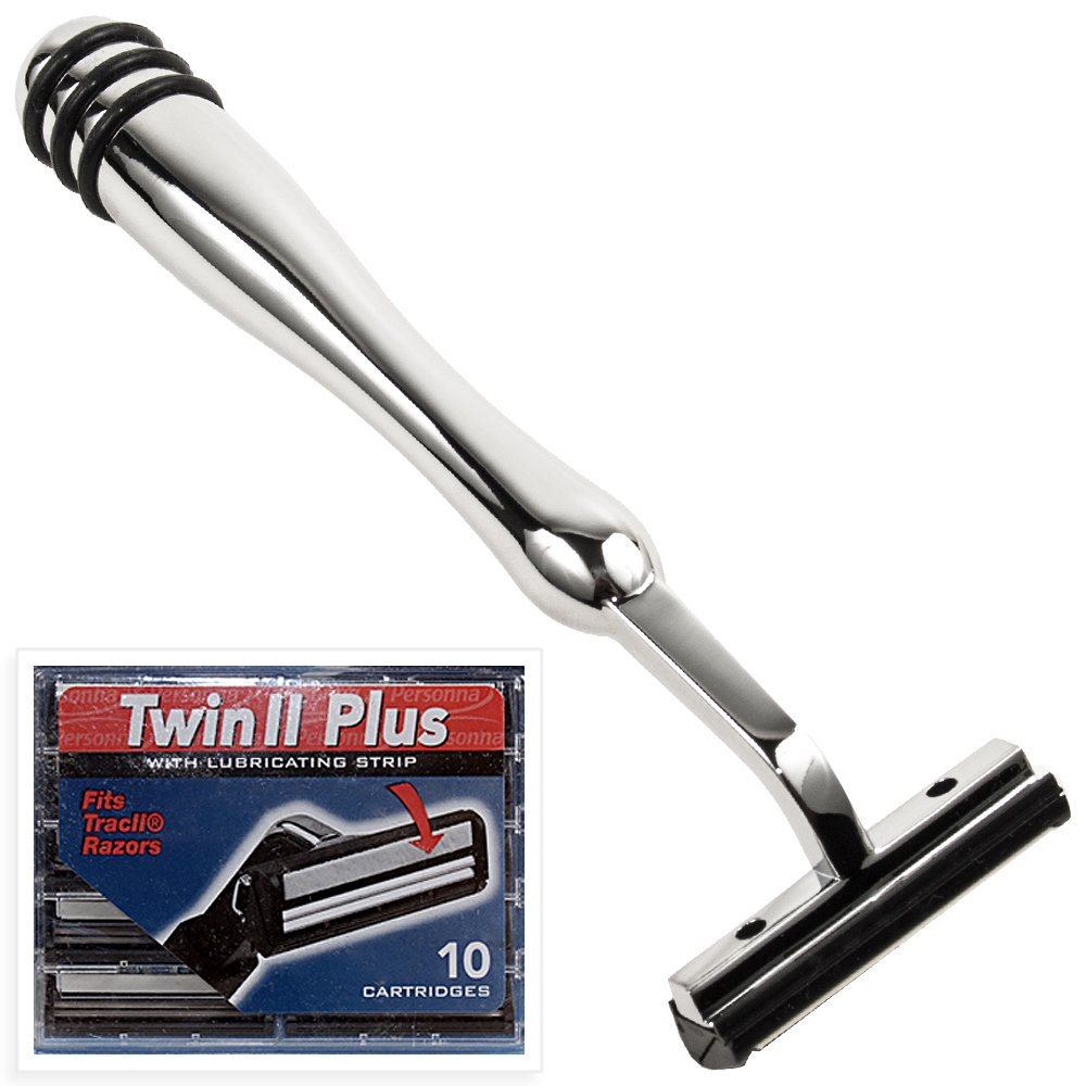 All Metal Trac 2 (Trac II) Compatible Razor and 10 Personna Twin Blade Cartriges Super Safety Razors T2RHWB