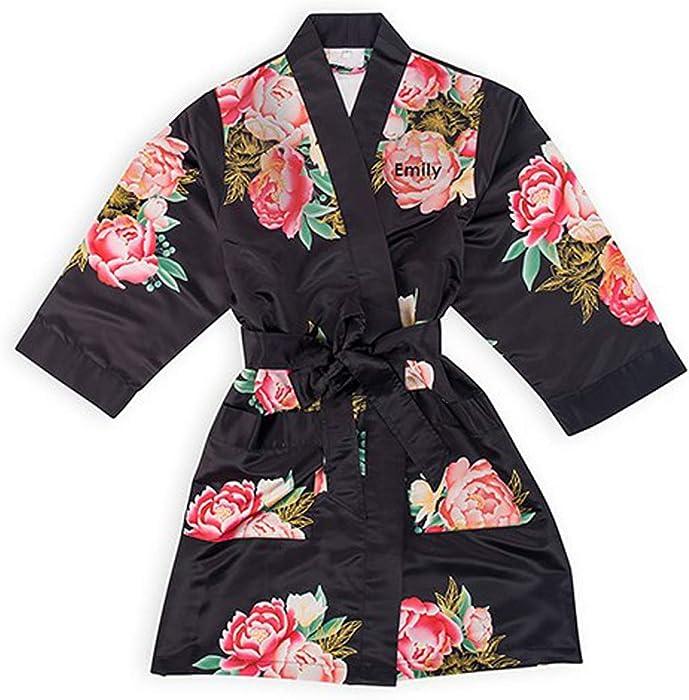 Womens Floral Silky Customizable Bridesmaid Kimono Robe, Blissful ...