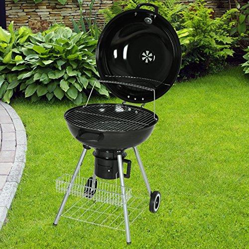 Broil - master - Barbacoa con 2 ruedas en forma circular (con parrilla y rejilla para el carbón) - asas prácticas en el fogón, la tapa y el cubo de cenizas: ...