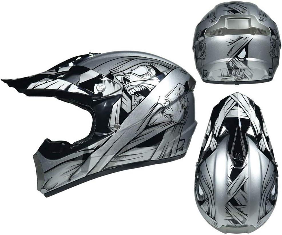 Juego de casco de motocross con guantes unisex gafas y m/áscara casco de moto casco de cross casco de protecci/ón ATV MXYMC casco con auriculares desmontables casco para adultos