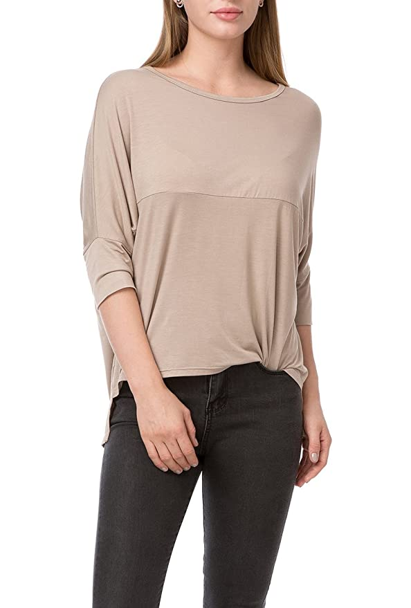 Lacle Women Loose Fit Casual Summer T Shirt (Grayish Purple Small)