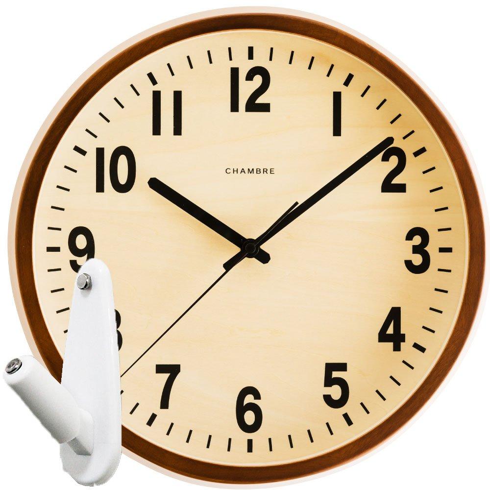 CHAMBRE PUBLIC CLOCK CH-027 + 壁の穴が目立ちにくい時計用壁掛けフック 2点セット 掛け時計 掛時計 壁掛け時計 壁掛時計 フック おしゃれ シャンブル パブリッククロック INTERZERO (カフェブラウン) B07649FJRH カフェブラウン カフェブラウン